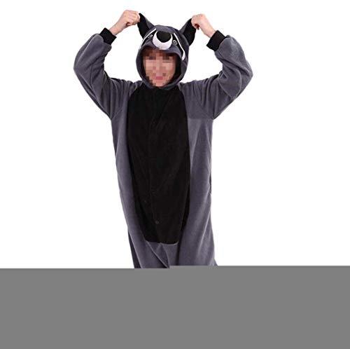 Venaster Pyjamas Mädchen Grau Waschbär Erwachsene Unisex Animal Cosplay Overall Pajamas Anime Schlafanzug Jumpsuits Spielanzug Kostüme (Waschbär Kostüm Kinder)
