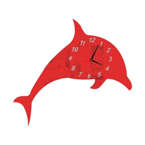 Dtuta Spiegel-Delphin-Wandaufkleber DIY Der Niedlichen Mode Kreative Praktische Spiegelwanduhr