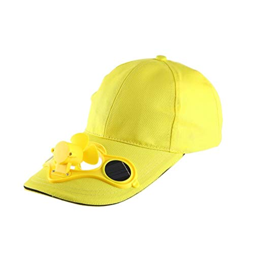 Solar Power Hat (Wenwenzui Summer Sport Outdoor Hat Cap with Solar Sun Power Cool Fan for Cycling Yellow)