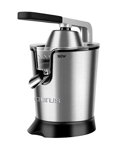 Taurus Easy Press Exprimidor eléctrico de Palanca de 160 W, 2 Conos para Todos los cítricos, 18/8...
