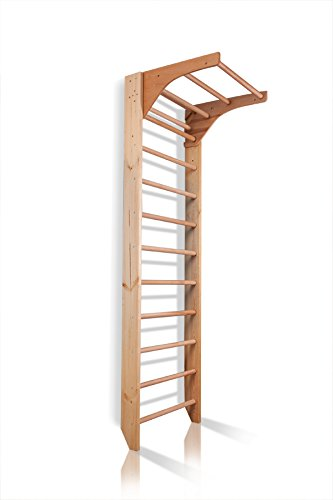 Sprossenwand mit Höhenverstellbarer Stange ˝Kombi-1-240˝ Kletterwand Turnwand Fitness Sportgerät Klettergerüst Holz