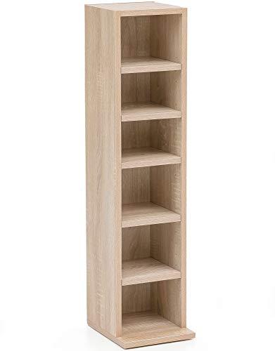FineBuy Bücherregal FB12008 Sonoma 21x91x25,5 cm mit 6 Fächern | Standregal Holz Regal freistehend Flur | Schmales Wandregal Kinderzimmer | Nieschenregal modern
