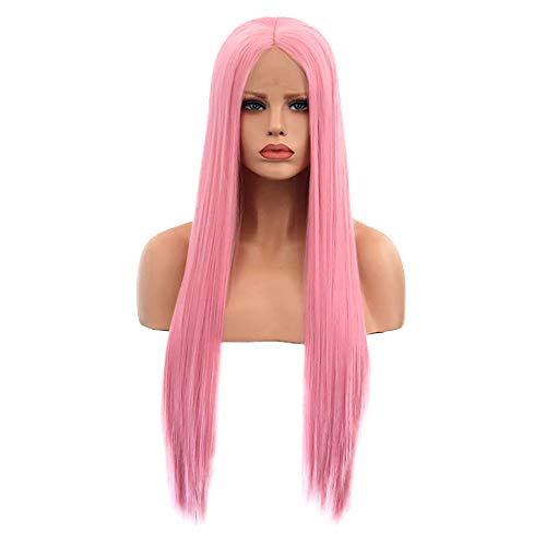 PRTQI Damen Faserspitze Wig Rosa Langes Haar Hochtemperatur Seiden Komfort Elastisches Netz 24 Zoll (Rosa Perücken Für Verkauf)