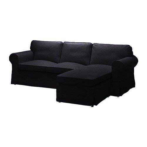 Pimp your Couch Ektorp 2er-Sofa Bezug mit Recamiere Rechts Bezug - Kunstleder Vintage [Black]