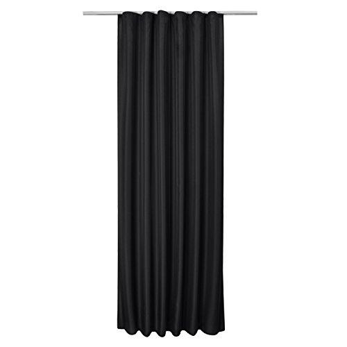 Beautissu Blickdichter Kräuselband-Vorhang Amelie – 140×245 cm Schwarz – Dekorative Gardine Universalband Fenster-Schal - 5