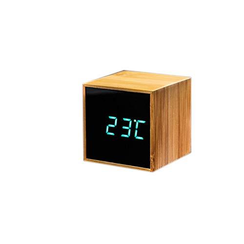 F-blue Quadratischer Würfel Bambus hölzerne Uhr Studentennacht Einfache Digitale elektronische Uhr Spiegel-LED-Anzeige -