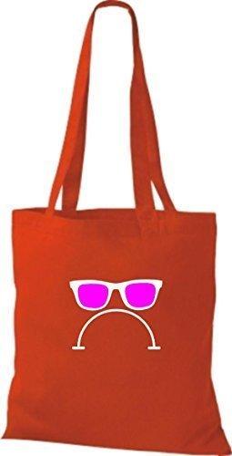 Borsa di stoffa Occhiali da sole e bad smile CULTO Borsa di cotone molti colori Rosso
