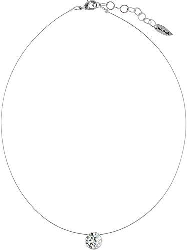 Schwebender Stein an hauchdünnem Stahlseil, 9mm Swarovski ® Chatonstein, silberfarbig, Farbe:Crystal (Kette Nylon)