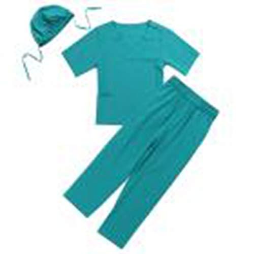 hen Arzt Kostüm Arzt-Set Chirurg Outfit Kurzarm Tops mit Hose Kappe für Karneval Fasching Cosplay Halloween Verkleidung Grün 140-152/10-12 Jahre ()