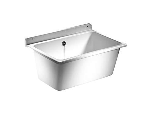 SANIT Waschtrog mit Überlauf, inklusive Befestigungsset, Waschbecken aus Kunststoff mit 35 l Fassungsvermögen, weiß, Art.Nr. 60.003.01..0099 (Kleine Kunststoff-waschbecken)