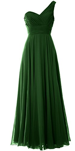 MACloth Women One Shoulder Long Bridesmaid Dress Wedding Party Evening Gown Dark Green
