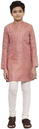 NEUDIS by Dhrohar Silk Blend Long Kurta & Churidar Pajama Set For Boys - Light