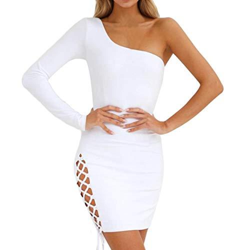 Preisvergleich Produktbild Damen Kleid,  Malloom Mode Frauen Bodycon One Shoulder Langarm Bandage Abendgesellschaft Kleid a Linie Schulterfrei Blumen Geschenke Kleid Röck