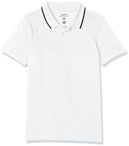NAME IT Jungen T-Shirt Nkmvartin SS Polo I, Weiß (Bright White), 134 (Herstellergröße: 134-140) (Polo-shirt Jersey-weiß)