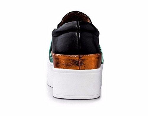 QIYUN.Z Celebrite Femmes De Style Plate-Forme Slip-On Chaussure Vachette Couleur De Contraste Chaussures Loafer Noir