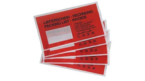 1000 rote Lieferscheintaschen | Begleitpapiertasche DIN-lang-Format (240 x 130 mm) | selbstklebend und in 9 Sprachen bedruckt