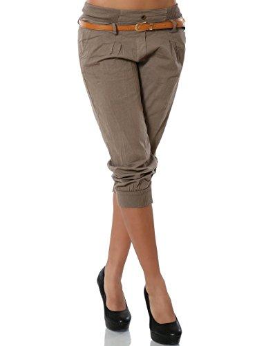 Damen Chino Capri Hose inkl. Gürtel (weitere Farben) No 13235, Größe:M / 38;Farbe:Schoko