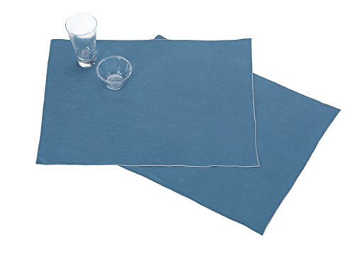 BLANC CERISE Les 2 Sets de Table en 100% Lin lavé, Unies avec Bourdon de Couleur 38 * 48