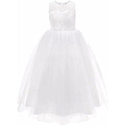 FEESHOW Blanco Niña Bebé Niño Princesa Boda Fiesta Concurso Encaje De Flores Vestido