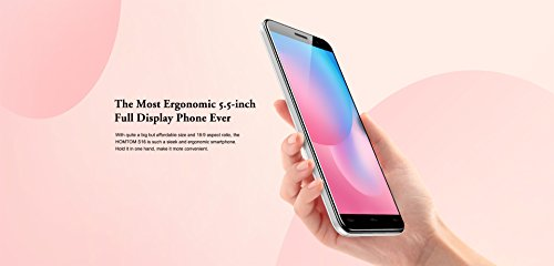 HOMTOM S16 - Pantalla HD de 5 5 pulgadas  proporci  n de 18  9  Android 7 0 Smartphone 3G  1 3GHz Quad Core 2GB RAM 16GB  c  mara Triphone  8MP   2MP
