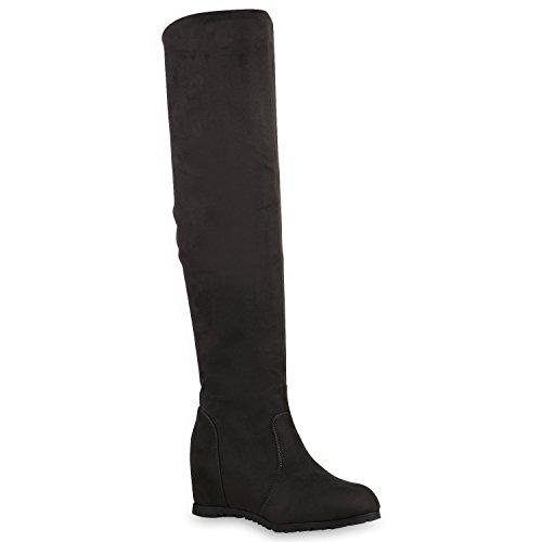 Damen Stiefel Keilabsatz Overknees Wedges Boots Schuhe Grau