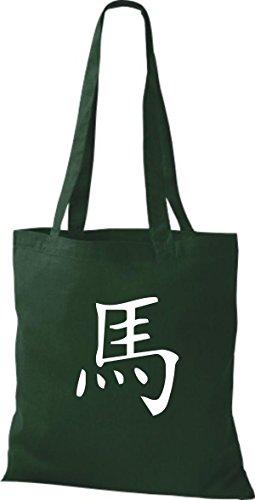 ShirtInStyle diverse Schriftzeichen Baumwolltasche Chinesische green Farbe Stoffbeutel Beutel Pferd bottle r16Hrqw