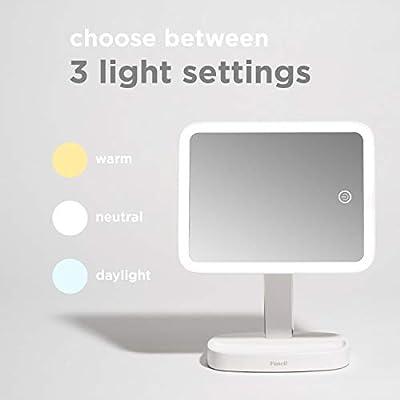 Fancii Beleuchteter Schminkspiegel Kosmetikspiegel mit natürlichem LED Licht mit 3 wählbaren Farbeinstellungen und 15 fach Spiegel, Tischspiegel mit Beleuchtung, dimmbares Touch Licht, Doppelbetrieb