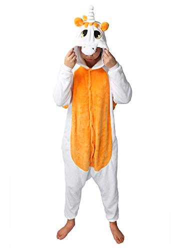 Einhorn Pyjamas Jumpsuit Kostüm Tier Schlafanzug Cosplay Karneval Fasching (Einhorn), Orange, Gr. M: für Höhe 158-167