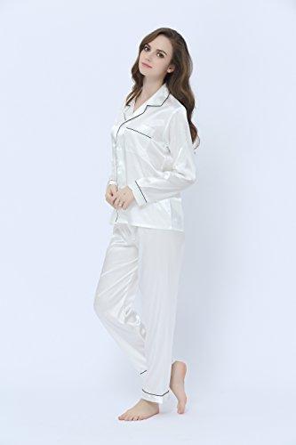 TONY & CANDICE Damen Schlafanzüge Lang Satin Lang Pyjama Set Nachtwäsche Weiß