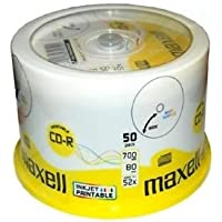 Maxell CD-R 52x White Full Face Inkjet Printable Surface - 50 Discs in Spindle Pack