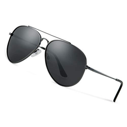 Avoalre Sonnenbrille Herren Polarisiert Pilotenbrille, 2019 Trend Polarisierte Sonnenbrille Herren (schwarz/dunkel grau) Fliegerbrille Männer 100% 400 UV Schutz