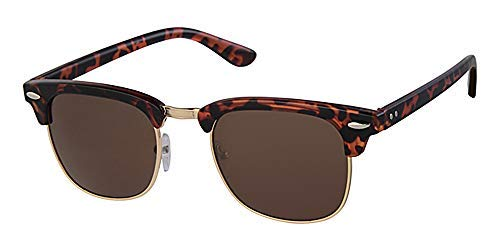 Eyewear World Schildkröte braun Kunststoff & Gold Metall Rahmen Sonnenbrille, Braun Objektiv, Metall-Scharnier, mit gratis gelb Halskordel