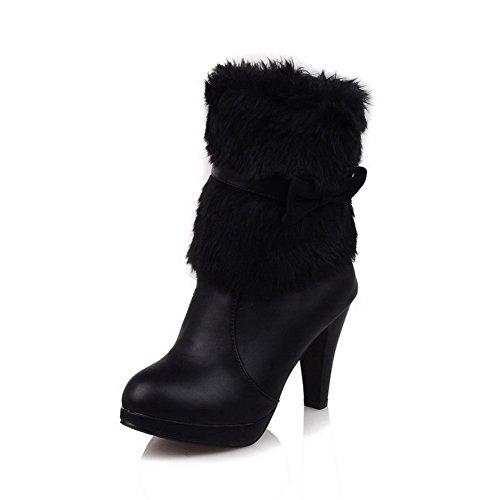 AllhqFashion Damen Blend-Materialien Hoher Absatz Schließen Zehe Stiefel Schwarz-Schleife