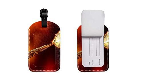 PU-Leder-Gepäcketikett Koffer, verstellbares Lederband Kratzfest Etikett, stilvolles Design das Schwert Zeichnen