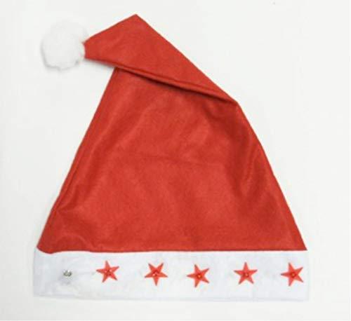 Urban Déco Bonnet de père Noël avec étoiles Lumineuses LED, 800448 Rouge