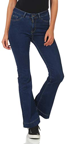 Malito Damen Jeans | Coole Schlaghose | Jeans mit Bootcut | 5-Pocket - Stretch 17036 (blau, M) 5-pocket Stretch-bootcut-jeans