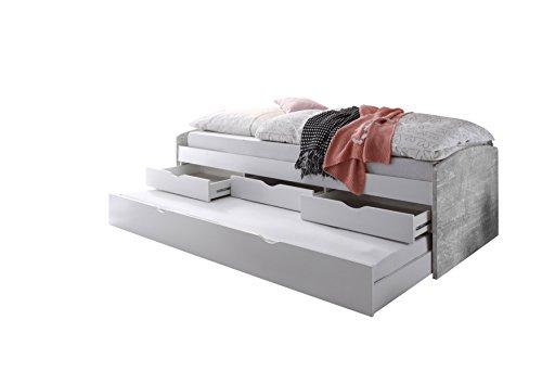 Stella Trading Nessi Bett, Holz, weiß / beton, 206 x 96 x 64 cm