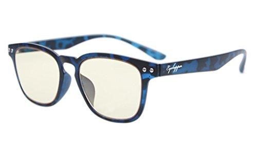 Eyekepper Vintage Flex leichte Kunststoffrahmen Computer Brille Leser Brillen (blaue Schildpatt, Gelb getönte Linsen) +1.25