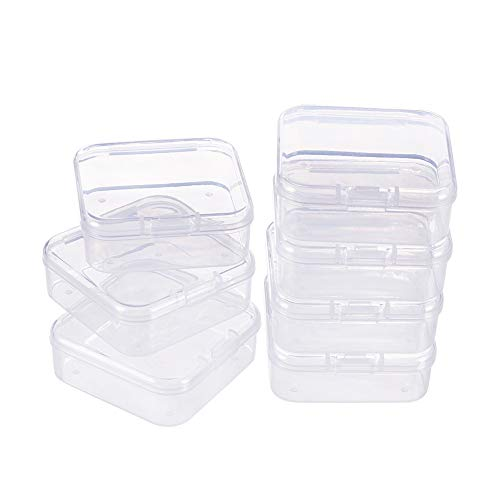 BENECREAT 18 Pack Square Clear Plastic Bead Storage Containers Box Case with Flip-Up Lids for Small Items, Pills, Herbs, Tiny Bead, Jewerlry Findings(5.4 x 5.4 x 2cm) (Kunststoff-square Storage Container)