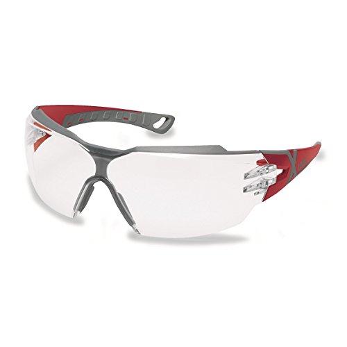 Uvex Sportbrille Schutzbrille Arbeitsbrille 9198 pheos cx2 mit X-Brand Geeignet für Kombination mit Gehörschutz (rot/grau) inkl. Etui