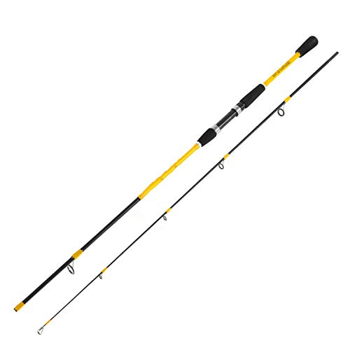 Love every day Strengthen Fishing Rod 1.8M/2.1M Fiber Casting M Adjustable Spinning Rod Vara De Pesca Outdoor Fishing Gear,Yellow,1.8 M -