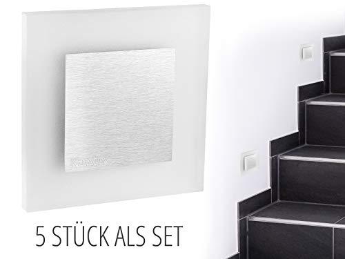 5 Stück LED Wand Einbau-Leuchte ideal für Treppen-beleuchtung – Moderne Form aus Edelstahl & Glas für 60mm Dosen warmweiß - 2