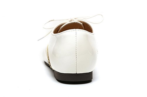Femme Légeres Pointu à Talon Chaussures Unie Blanc Lacet VogueZone009 Bas Verni Couleur ZdqvxnfA
