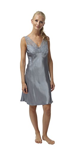 BHS Ladies Short Satin and Lace Chemise Nightdress. Silver Grey. Sizes 8 to 22