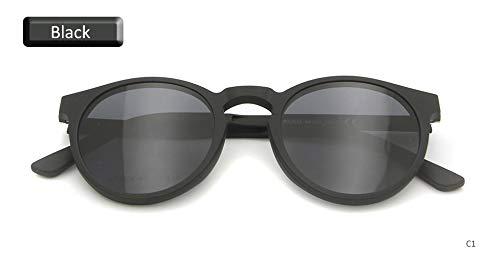 LKVNHP Männer Frauen Polarisierte Klipp Auf Sonnenbrille Magnetische Runde Ultem Speicher Brillengestell Magnetische Sonnenbrille Driving SpectacleBlack