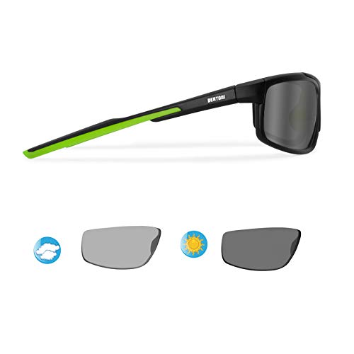 BERTONI Photochrome Selbsttönende Polarisierten Windschutz Sport Sonnenbrillen Fahrradbrille Ski Laufen Golf Running - P180FTM Italy Automatische Scheibentönung Kat 2 bis 3