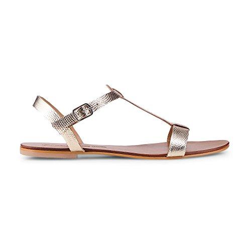 Cox Damen Sommer-Sandale Gold Bronze Leder 40 (Gold-leder Sandalen)