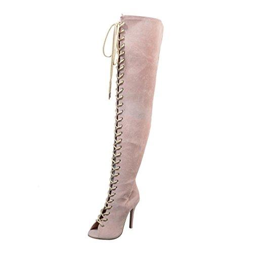 Stiefel Lange Stiefeletten, SOMESUN Frauen Hoch üBer Knie Stiefel Sexy Lange Boot Heels Fisch Mund Schuhe Bandage Design (39 EU, (Stiefel Knie Sexy Hoher)
