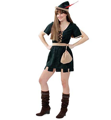KarnevalsTeufel Damenkostüm Robin Hood 3-teilig Kleid in dunkelgrün mit Gürtel und Beutel in beige Jägerin Mittelalter (42)