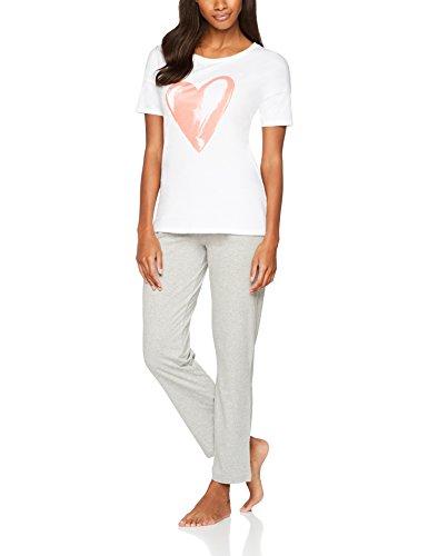 Iris & Lilly Damen Schlafanzug-Oberteil mit Herz-Print Weiß (White/Pink)